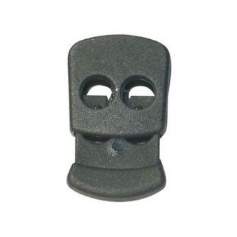 Arrêt de cordon plat noir 2 trous de 5mm